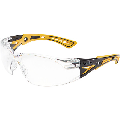 Bolle Rush Plus Small Safety Glasses | Black/Yellow Temples | Clear AF Lens