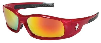 Crews Swagger Safety Glasses Red Frame Fire Mirror Lens