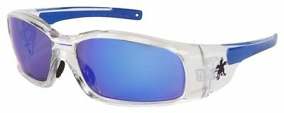 Crews Swagger Safety Glasses with Clear Frame and Blue Diamond Mirror Lens