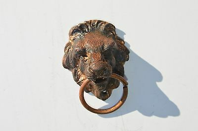 Fine Antique Victorian Small Solid Bronze Lion Face Drawer Pull Wonderful Detail
