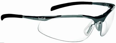 Bolle Contour Metal Safety Glasses Silver Frame Clear Anti-Fog Lens ANSI Z87