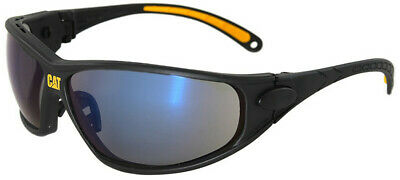CAT Tread Safety Glasses with Black Frame and Blue Mirror Lens