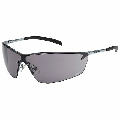 Bolle Silium Safety Glasses with Silver Frame and Smoke Anti-Scratch and Anti-Fo