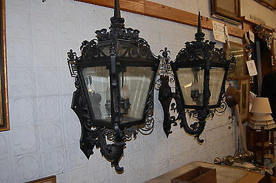 """1903 Museum Quality Mansion Wrought Iron Copper Brass Appliques Wall Sconces 40"""""""