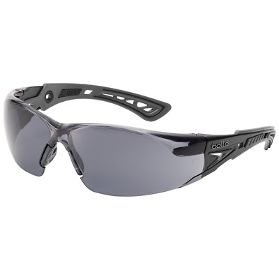 Bolle Rush Plus Safety Glasses | Black/Gray Temples | Smoke Anti-Fog Lens