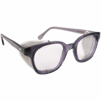 Bouton Traditional Safety Glasses Smoke Frame Mesh Sideshields Clear Lens