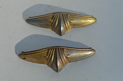 2 Beautiful Art Deco Metal Furniture Drawer Pulls