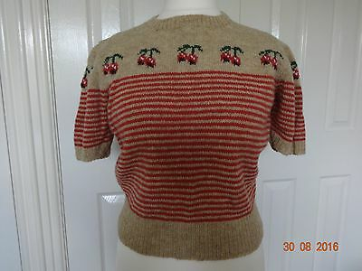 1940s style hand knitted sweater jumper cherry Shetland wool WW2 vintage retro r
