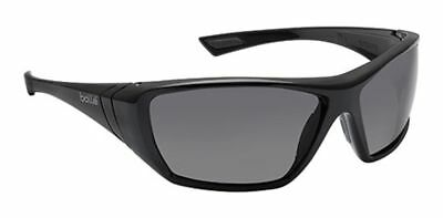 Bolle Hustler Safety Sunglasses with Shiny Black Frame and Smoke Anti-Scratch an