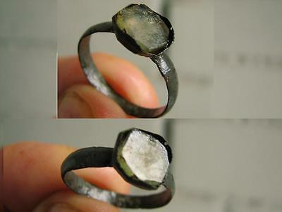 NICE BRONZE MEDIEVAL  RING with STONE # 4528