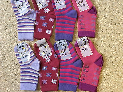8 PAIRS CHEAP GIRLS SOCKS . SHOE SIZE 6-8.5 .cotton blend