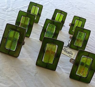 PIER 1 ONE Christmas Green Napkin Rings Lot Of 9 Very Nice Emerald Colored! ��