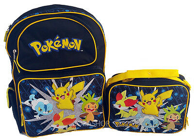 """Pokemon Pikachu 16"""" Large Backpack and Lunch set 2 pc"""
