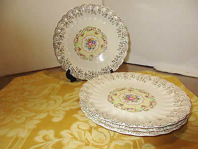 "4 Individual Plates, 7.25"", Toledo Delight, American Limoges"
