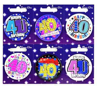Small 40 40 ADULT MILESTONE Forty Birthday Badges ALL AGES available 40 40