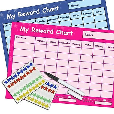 RE-USABLE BOYS GIRLS REWARD CHART - PINK & BLUE Includes Stickers & Pen