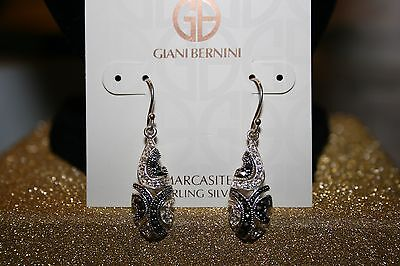 Giani Bernini Sterling Silver Marcasite & Crystal Teardrop Earrings NWT $130