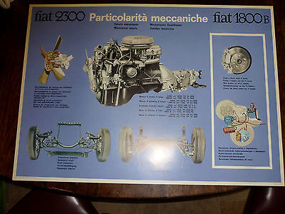 Fiat 2300 1800B Mechanical details - original official dealer poster