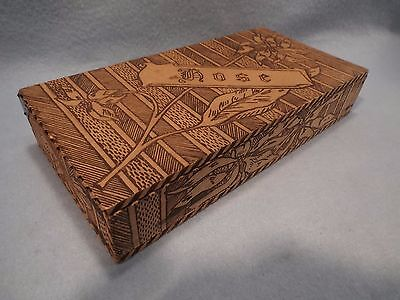 Antique Vintage Hosiery Wooden Pyrograph H0SE Display Box