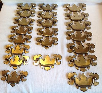 Lot - 21 Vintage Brass toned Dresser Furniture Drawer Handle Pulls 8 Lg 13 small