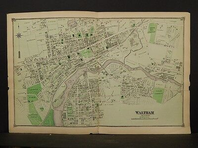 Massachusetts Middlesex County Map 1875 Waltham, Double Page !Z4#12