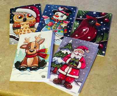 Set of 5 Artist Christmas Greeting Cards