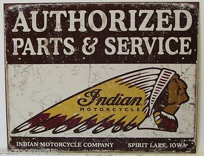 INDIAN motorcycles metal sign authorized parts and service head dress logo  1930