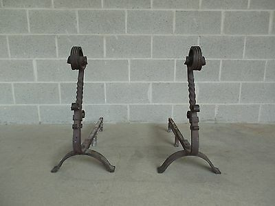 "Antique Pair Large Hand Forged Andirons 28""H x 30""D"
