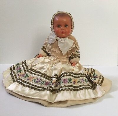 "1930's SNF 16"" Celluloid Doll Societe Nobel Francaise Brittany France Clothes"