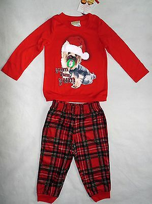 87b15b4faa Peas   Carrots Toddler Girls Size 2T 3T 4T 2-Pc Plaid Holiday Puppy Pajamas