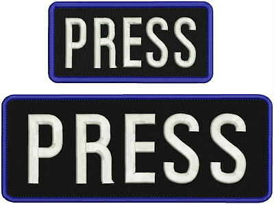 press embroidery patch 4x10 and 3X6 hook on back black and navy