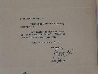 Original autographed letter the late great Bing Crosby