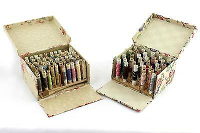 2 x Swedish silk reel boxes. Vintage 1950's 60's sewing interest. Floral