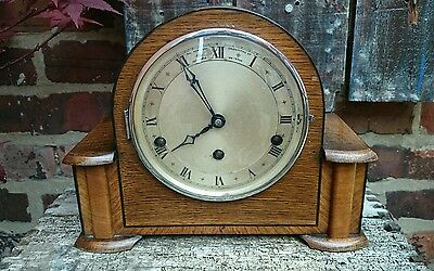 Northern Goldsmiths Art Deco, Oak Cased Westminister Chimes Mantle Clock GWO