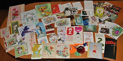 Vintage Huge Lot of Greeting Cards From 1950's & 1960's Birthday Christmas