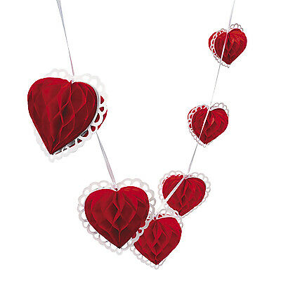 9ft Red & White Heart Garland Valentine Day Party Decor