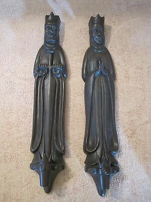 Vintage Atlantic Mold Medieval Gothic King & Queen Candle Holder Wall Decor