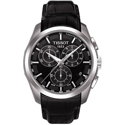 New Tissot Couturier Black Leather Chrono Watch T035.617.16.051.00 GREAT GIFT