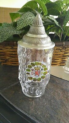 "FANTASTIC LIDDED BEER MUG ""LUXEMBOURG"" MADE IN ITALY fine glass"