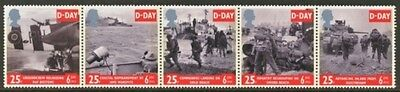 GB MNH Scott 1562-1566, 1994 D Day strip of 5 stamps folded