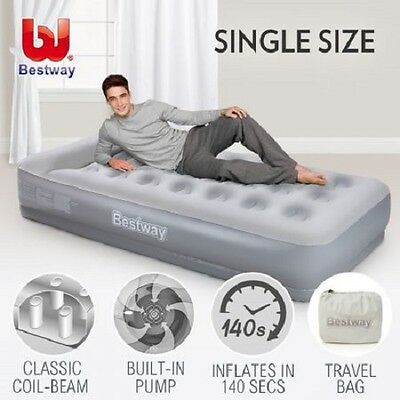 NEW Single Size Bestway Inflatable Flocked Mattress Built-in Pillow & Air Pump