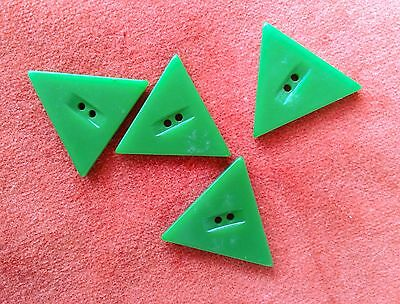 4 Vintage Green Bakelite Triangle Buttons Plastic