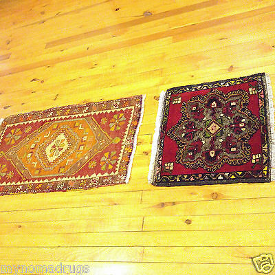 Stunning Natural Dyes Ca 1920-1939s Antique Two Tribal Cushion Face Rugs Turkey