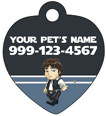 Disney Star Wars Han Solo Pet Id Tag for Dogs/Cats Personalized w/ Name & Number