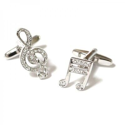 Crystal encrusted Treble Clef & Music Note Cufflinks - Gift Idea for a Musician