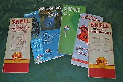 6 Old USA Road Maps