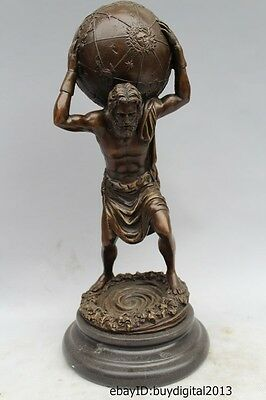 """13"""" Western ART Pure Bronze Marble Great Men carry the earth Statue Sculpture"""