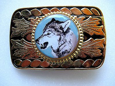 Vintage Wolf Original Art Belt Buckle