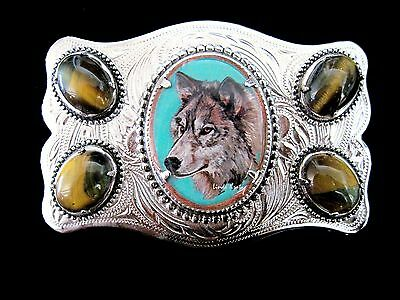Vintage Wolf Original Art Tiger Eye Belt Buckle