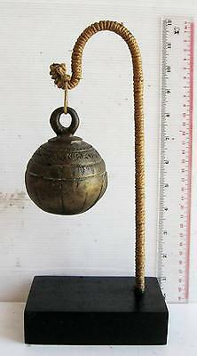 RUSTIC Old Karen Hill Tribe Bronze Round Elephant Bell & Stand 340g